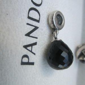 Pandora Retired Silver Black Faceted Black Murano